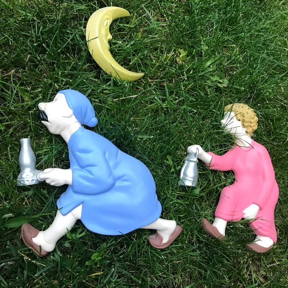 Vintage chalkware set walking to the outhouse